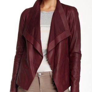 NWT Vince Drape Neck Leather Jacket Dark Scarlet